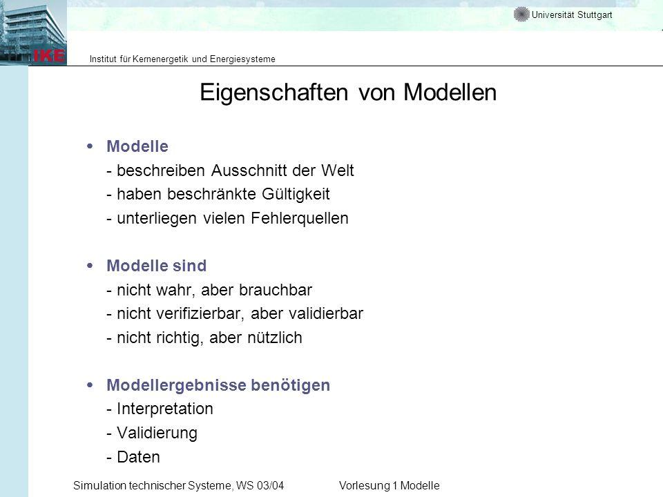 Universität Stuttgart Institut für Kernenergetik und Energiesysteme Simulation technischer Systeme, WS 03/04Vorlesung 1 Modelle Eigenschaften von Mode