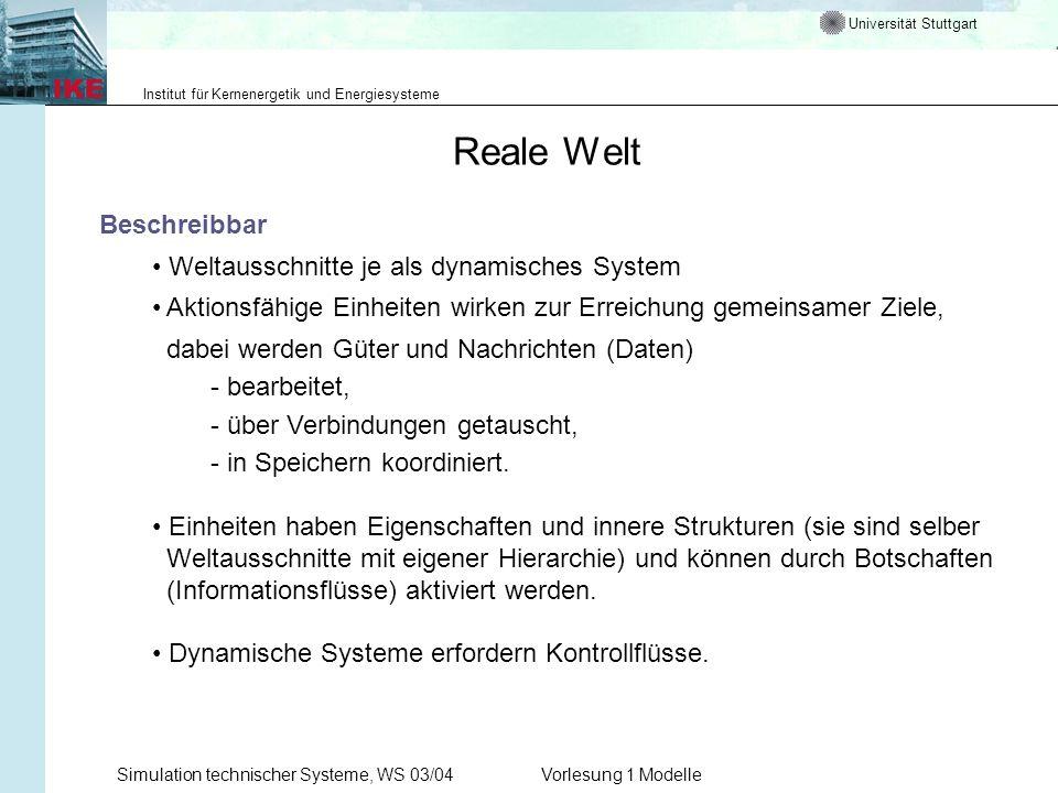 Universität Stuttgart Institut für Kernenergetik und Energiesysteme Simulation technischer Systeme, WS 03/04Vorlesung 1 Modelle Reale Welt Beschreibba