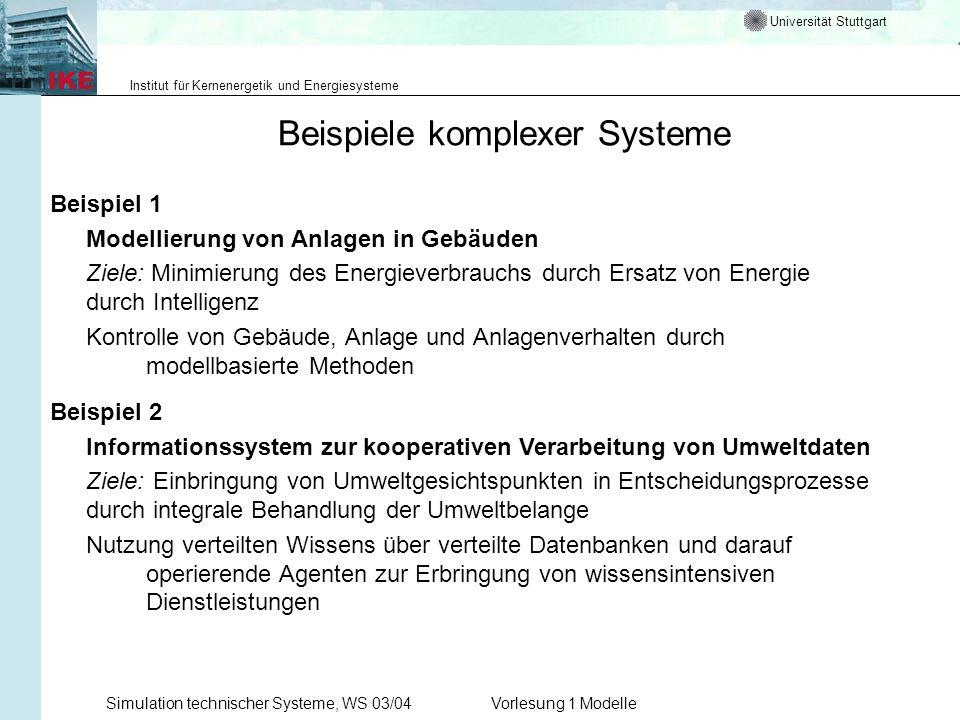 Universität Stuttgart Institut für Kernenergetik und Energiesysteme Simulation technischer Systeme, WS 03/04Vorlesung 1 Modelle Beispiele komplexer Sy