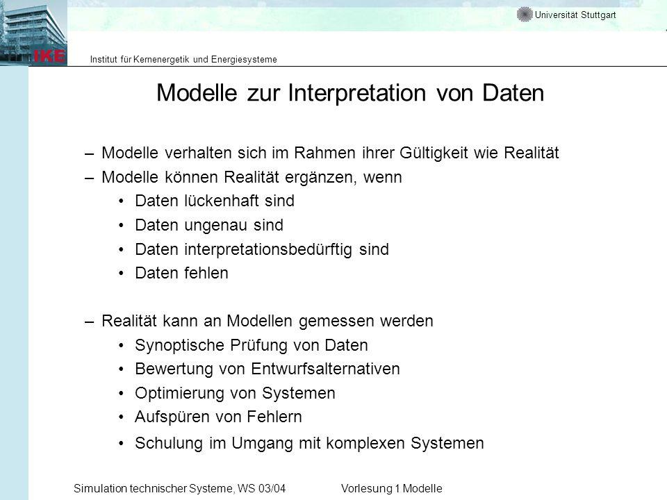 Universität Stuttgart Institut für Kernenergetik und Energiesysteme Simulation technischer Systeme, WS 03/04Vorlesung 1 Modelle Modelle zur Interpreta