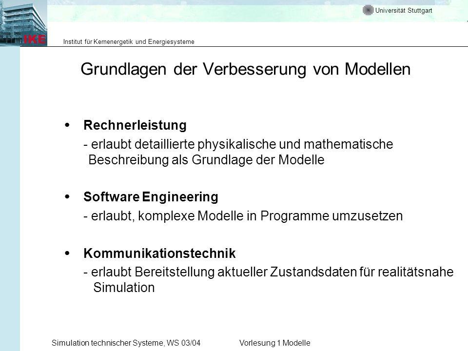 Universität Stuttgart Institut für Kernenergetik und Energiesysteme Simulation technischer Systeme, WS 03/04Vorlesung 1 Modelle Grundlagen der Verbess