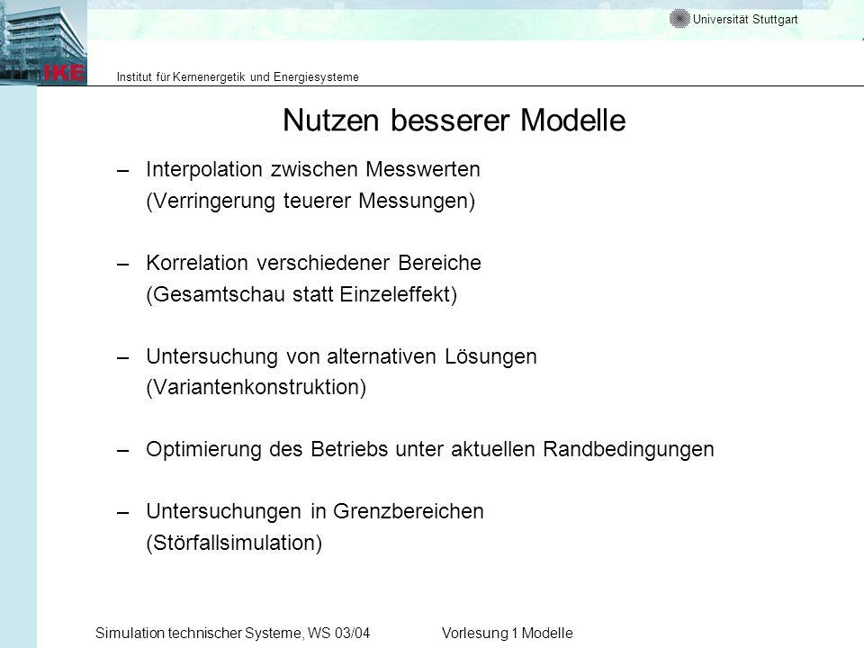 Universität Stuttgart Institut für Kernenergetik und Energiesysteme Simulation technischer Systeme, WS 03/04Vorlesung 1 Modelle Nutzen besserer Modell