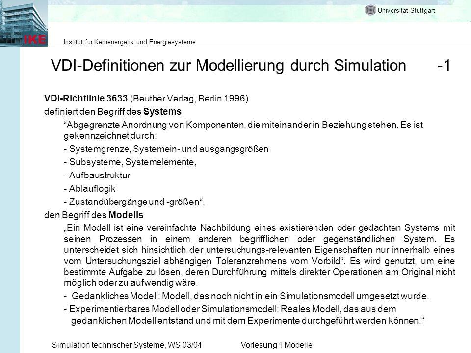 Universität Stuttgart Institut für Kernenergetik und Energiesysteme Simulation technischer Systeme, WS 03/04Vorlesung 1 Modelle VDI-Definitionen zur M