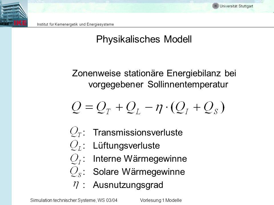 Universität Stuttgart Institut für Kernenergetik und Energiesysteme Simulation technischer Systeme, WS 03/04Vorlesung 1 Modelle Physikalisches Modell