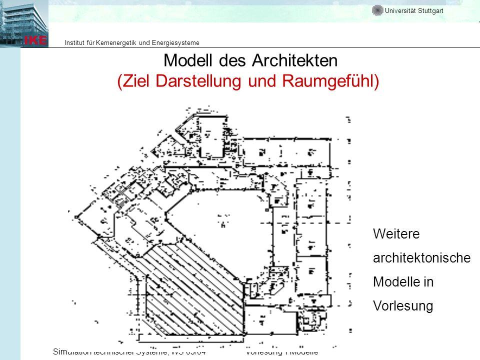 Universität Stuttgart Institut für Kernenergetik und Energiesysteme Simulation technischer Systeme, WS 03/04Vorlesung 1 Modelle Modell des Architekten