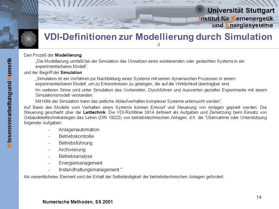Universität Stuttgart Wissensverarbeitung und Numerik I nstitut für K ernenergetik und E nergiesysteme Numerische Methoden, SS 2001 14 VDI-Definitionen zur Modellierung durch Simulation -2 Den Prozeß der Modellierung Die Modellierung umfaßt bei der Simulation das Umsetzen eines existierenden oder gedachten Systems in ein experimentierbares Modell, und der Begriff der Simulation: Simulation ist ein Verfahren zur Nachbildung eines Systems mit seinen dynamischen Prozessen in einem experimentierbaren Modell, um zu Erkenntnissen zu gelangen, die auf die Wirklichkeit übertragbar sind.
