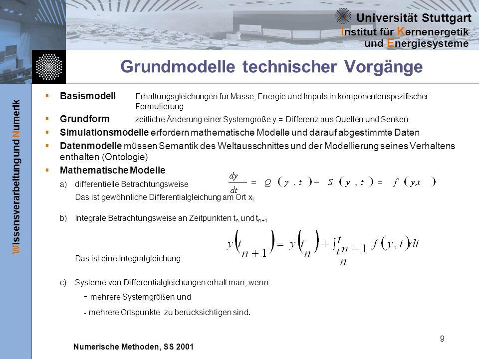 Universität Stuttgart Wissensverarbeitung und Numerik I nstitut für K ernenergetik und E nergiesysteme Numerische Methoden, SS 2001 9 Grundmodelle technischer Vorgänge Basismodell Erhaltungsgleichungen für Masse, Energie und Impuls in komponentenspezifischer Formulierung Grundform zeitliche Änderung einer Systemgröße y = Differenz aus Quellen und Senken Simulationsmodelle erfordern mathematische Modelle und darauf abgestimmte Daten Datenmodelle müssen Semantik des Weltausschnittes und der Modellierung seines Verhaltens enthalten (Ontologie) Mathematische Modelle a) differentielle Betrachtungsweise Das ist gewöhnliche Differentialgleichung am Ort x i b) Integrale Betrachtungsweise an Zeitpunkten t n und t n+1 Das ist eine Integralgleichung c) Systeme von Differentialgleichungen erhält man, wenn - mehrere Systemgrößen und - mehrere Ortspunkte zu berücksichtigen sind.