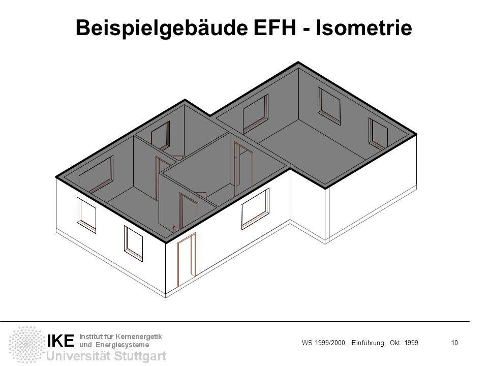 WS 1999/2000; Einführung, Okt. 1999 10 Beispielgebäude EFH - Isometrie