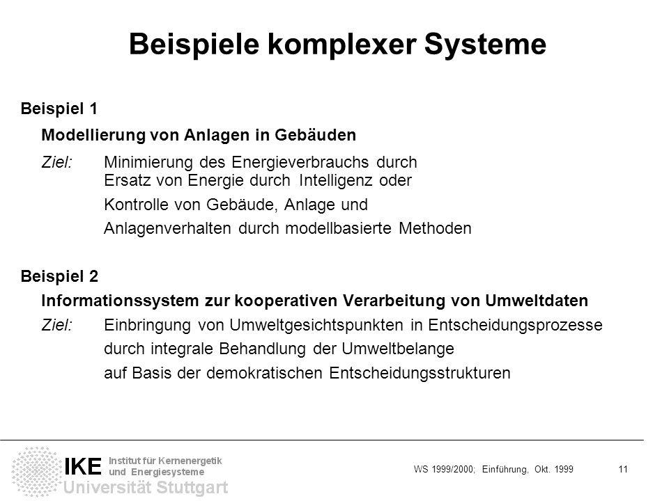 WS 1999/2000; Einführung, Okt. 1999 11 Beispiele komplexer Systeme Beispiel 1 Modellierung von Anlagen in Gebäuden Ziel:Minimierung des Energieverbrau