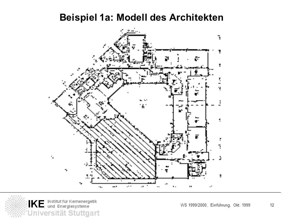 WS 1999/2000; Einführung, Okt. 1999 12 Beispiel 1a: Modell des Architekten Block A: Schnitt