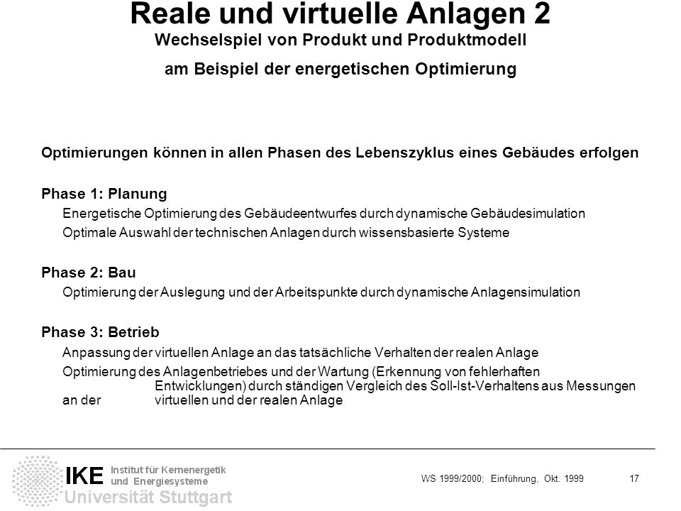 WS 1999/2000; Einführung, Okt. 1999 17 Reale und virtuelle Anlagen 2 Wechselspiel von Produkt und Produktmodell am Beispiel der energetischen Optimier