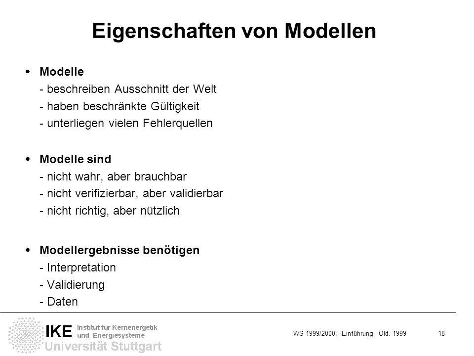 WS 1999/2000; Einführung, Okt. 1999 18 Eigenschaften von Modellen Modelle - beschreiben Ausschnitt der Welt - haben beschränkte Gültigkeit - unterlieg