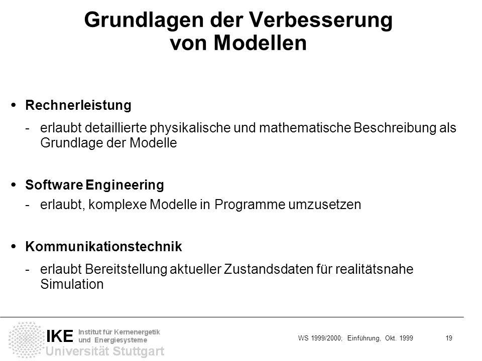 WS 1999/2000; Einführung, Okt. 1999 19 Grundlagen der Verbesserung von Modellen Rechnerleistung - erlaubt detaillierte physikalische und mathematische