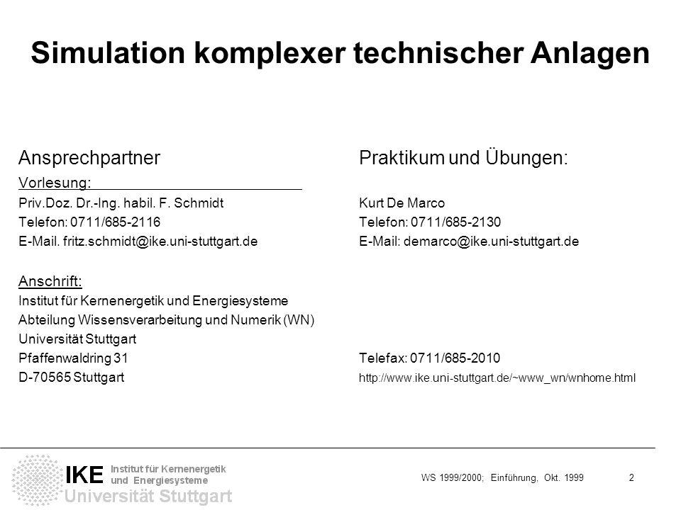 WS 1999/2000; Einführung, Okt. 1999 2 Simulation komplexer technischer Anlagen AnsprechpartnerPraktikum und Übungen: Vorlesung: Priv.Doz. Dr.-Ing. hab