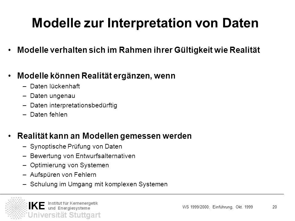 WS 1999/2000; Einführung, Okt. 1999 20 Modelle zur Interpretation von Daten Modelle verhalten sich im Rahmen ihrer Gültigkeit wie Realität Modelle kön