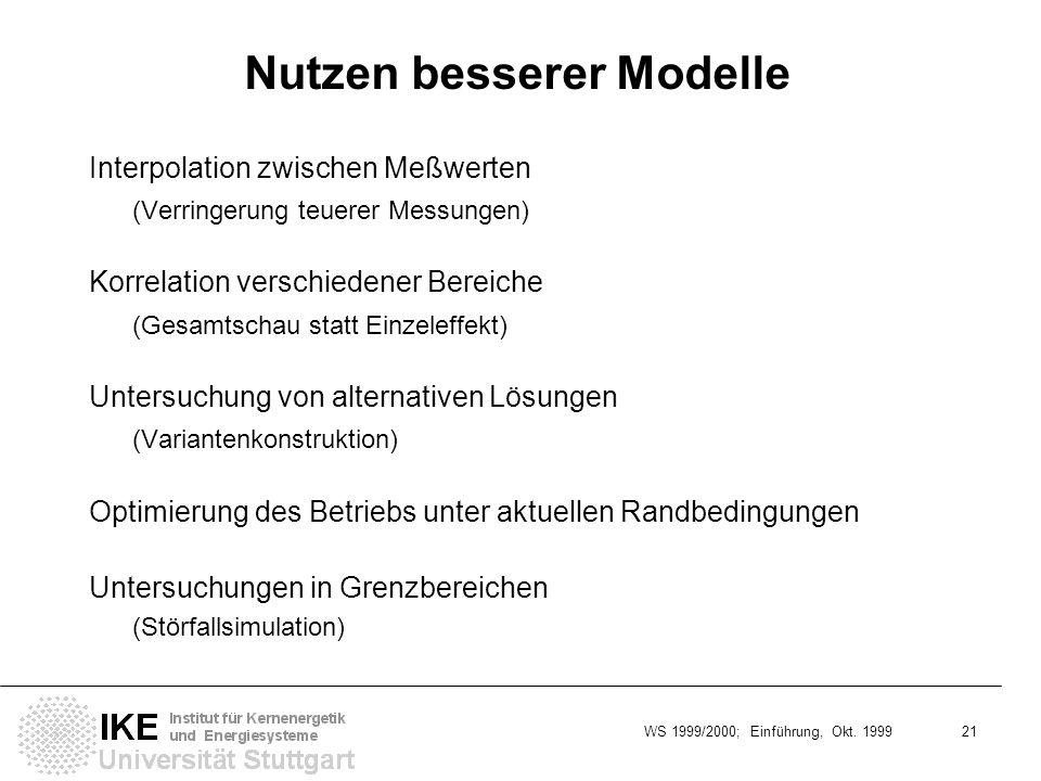 WS 1999/2000; Einführung, Okt. 1999 21 Nutzen besserer Modelle Interpolation zwischen Meßwerten (Verringerung teuerer Messungen) Korrelation verschied