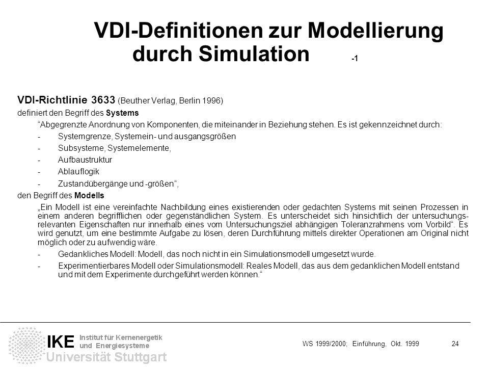 WS 1999/2000; Einführung, Okt. 1999 24 VDI-Definitionen zur Modellierung durch Simulation -1 VDI-Richtlinie 3633 (Beuther Verlag, Berlin 1996) definie