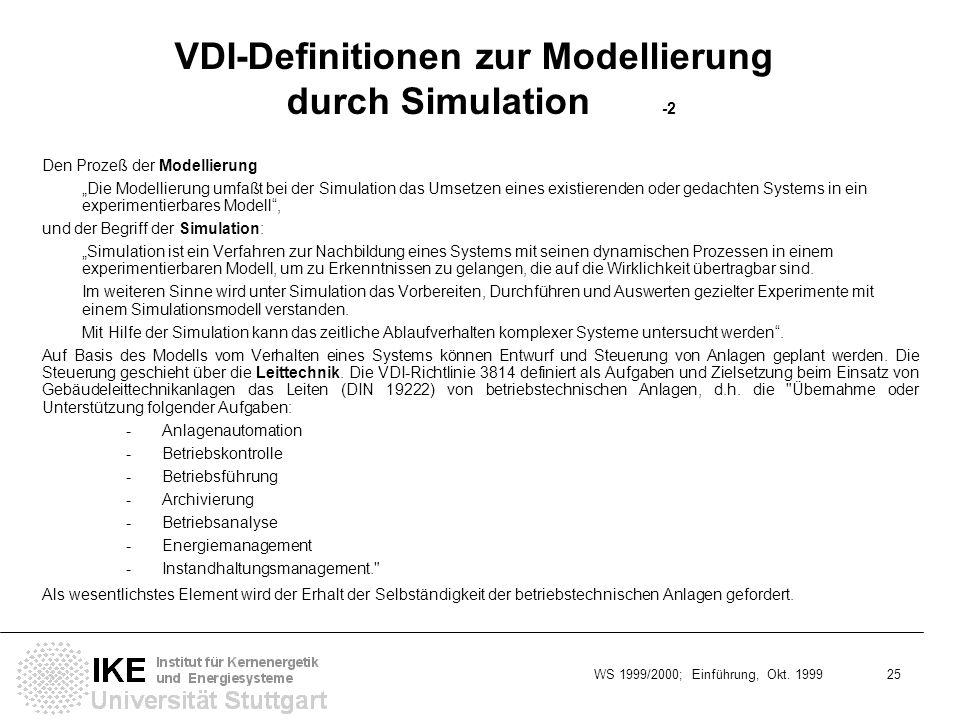 WS 1999/2000; Einführung, Okt. 1999 25 VDI-Definitionen zur Modellierung durch Simulation -2 Den Prozeß der Modellierung Die Modellierung umfaßt bei d