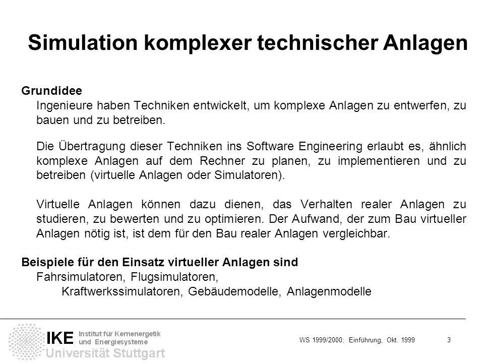 WS 1999/2000; Einführung, Okt. 1999 3 Simulation komplexer technischer Anlagen Grundidee Ingenieure haben Techniken entwickelt, um komplexe Anlagen zu