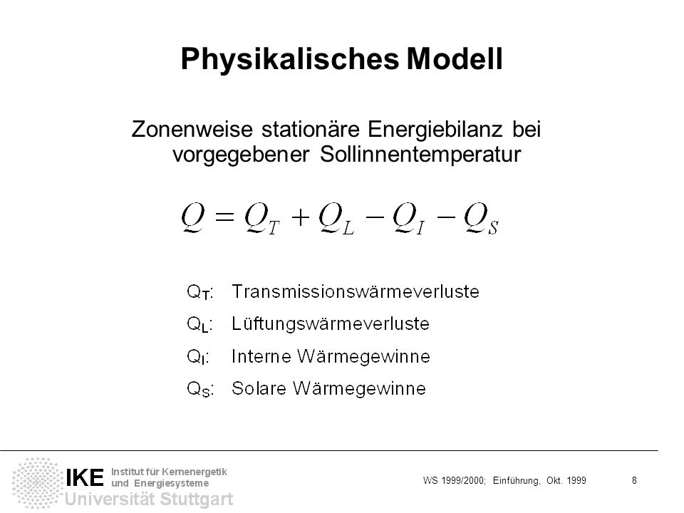 WS 1999/2000; Einführung, Okt. 1999 8 Physikalisches Modell Zonenweise stationäre Energiebilanz bei vorgegebener Sollinnentemperatur