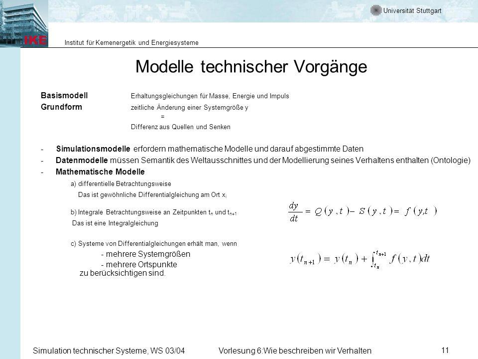 Universität Stuttgart Institut für Kernenergetik und Energiesysteme Simulation technischer Systeme, WS 03/04Vorlesung 6:Wie beschreiben wir Verhalten11 Modelle technischer Vorgänge Basismodell Erhaltungsgleichungen für Masse, Energie und Impuls Grundform zeitliche Änderung einer Systemgröße y = Differenz aus Quellen und Senken -Simulationsmodelle erfordern mathematische Modelle und darauf abgestimmte Daten -Datenmodelle müssen Semantik des Weltausschnittes und der Modellierung seines Verhaltens enthalten (Ontologie) -Mathematische Modelle a) differentielle Betrachtungsweise Das ist gewöhnliche Differentialgleichung am Ort x i b) Integrale Betrachtungsweise an Zeitpunkten t n und t n+1 Das ist eine Integralgleichung c) Systeme von Differentialgleichungen erhält man, wenn - mehrere Systemgrößen - mehrere Ortspunkte zu berücksichtigen sind.