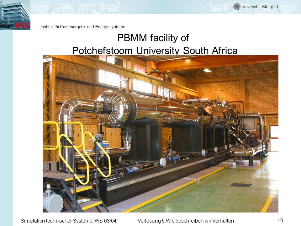 Universität Stuttgart Institut für Kernenergetik und Energiesysteme Simulation technischer Systeme, WS 03/04Vorlesung 6:Wie beschreiben wir Verhalten18 PBMM facility of Potchefstoom University South Africa