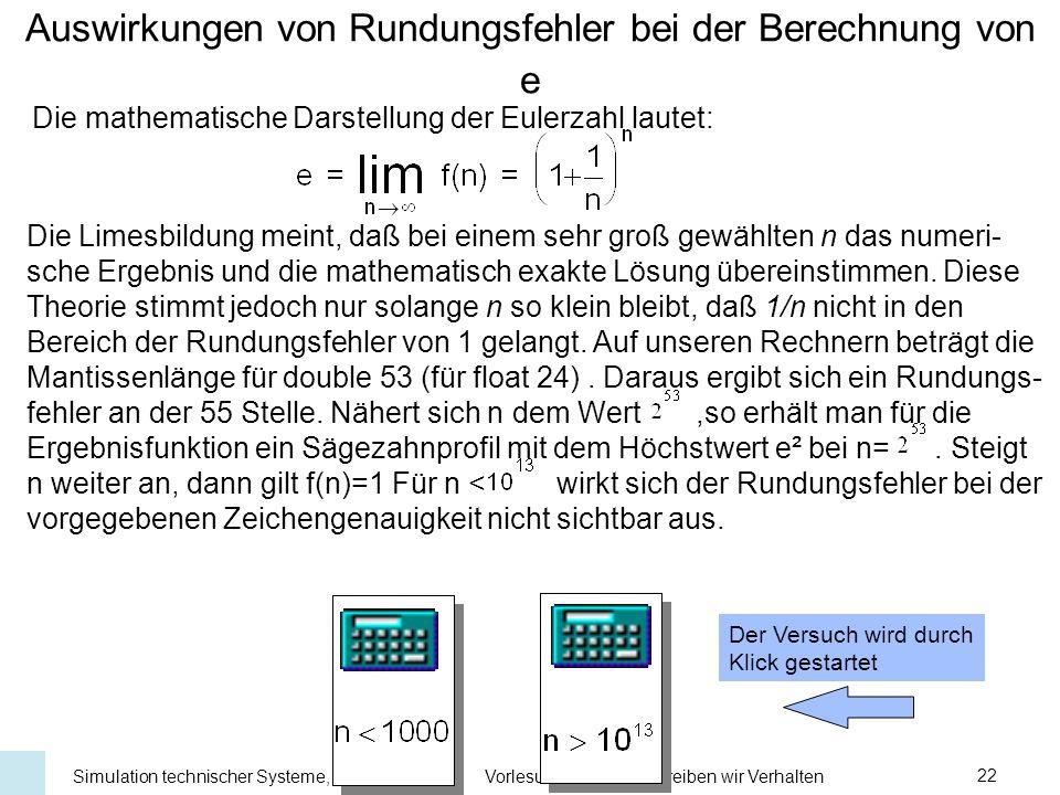 Universität Stuttgart Institut für Kernenergetik und Energiesysteme Simulation technischer Systeme, WS 03/04Vorlesung 6:Wie beschreiben wir Verhalten22 Interpolationsformel von Lagrange Lagrangesche Formel für beliebige Stützstellen An den Stützstellenmuß wegen der Interpolationsbedingung gelten Für diegelten die Beziehungen und allgemein Diesind Polynome vom Grad n, so daß L ein Polynom vom Höchstgrad n ist.