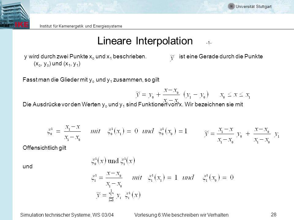 Universität Stuttgart Institut für Kernenergetik und Energiesysteme Simulation technischer Systeme, WS 03/04Vorlesung 6:Wie beschreiben wir Verhalten28 Lineare Interpolation -1- y wird durch zwei Punkte x o und x 1 beschrieben.