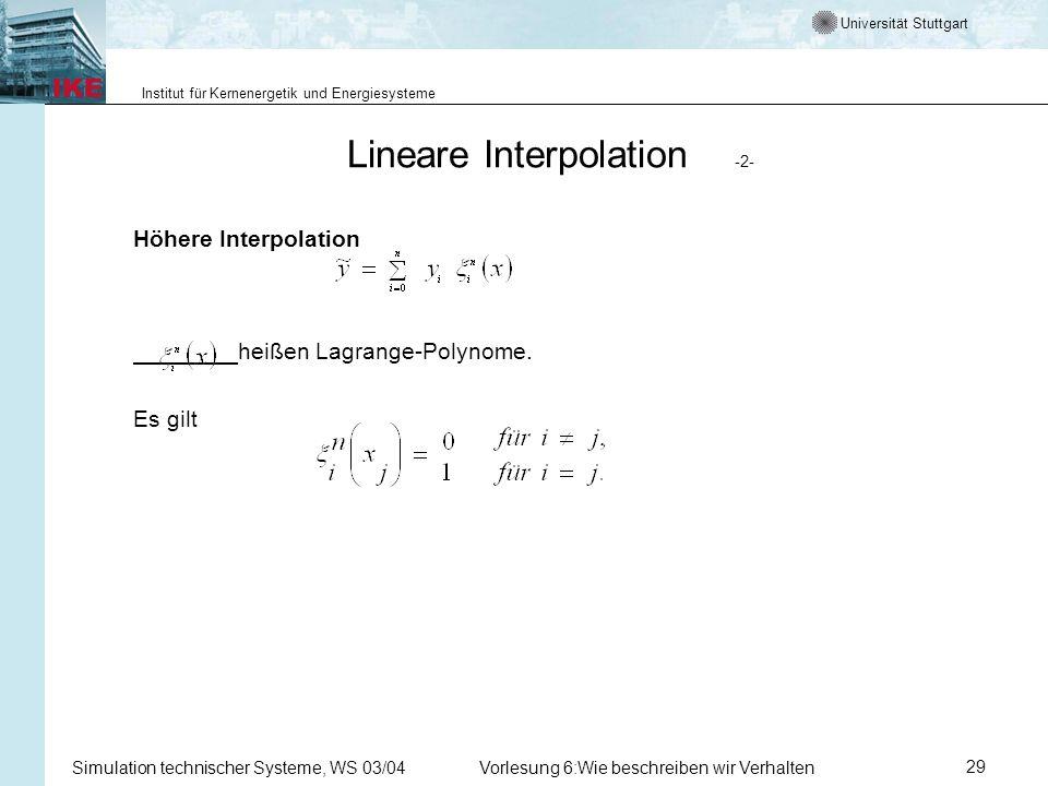 Universität Stuttgart Institut für Kernenergetik und Energiesysteme Simulation technischer Systeme, WS 03/04Vorlesung 6:Wie beschreiben wir Verhalten29 Lineare Interpolation -2- Höhere Interpolation heißen Lagrange-Polynome.