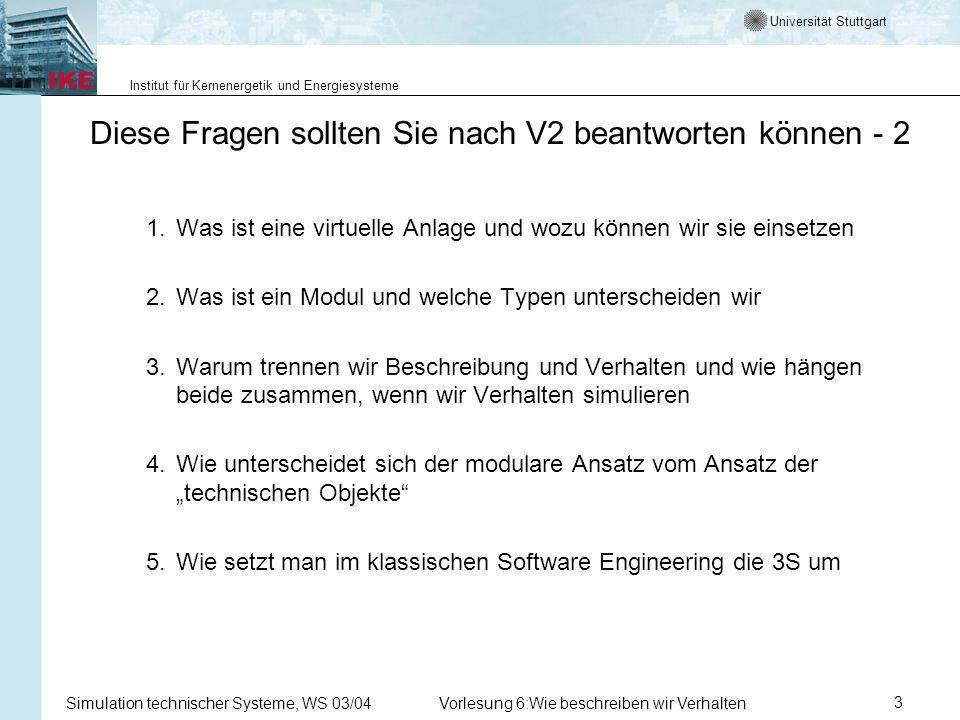 Universität Stuttgart Institut für Kernenergetik und Energiesysteme Simulation technischer Systeme, WS 03/04Vorlesung 6:Wie beschreiben wir Verhalten4 Diese Fragen sollten Sie nach V3 beantworten können 1.