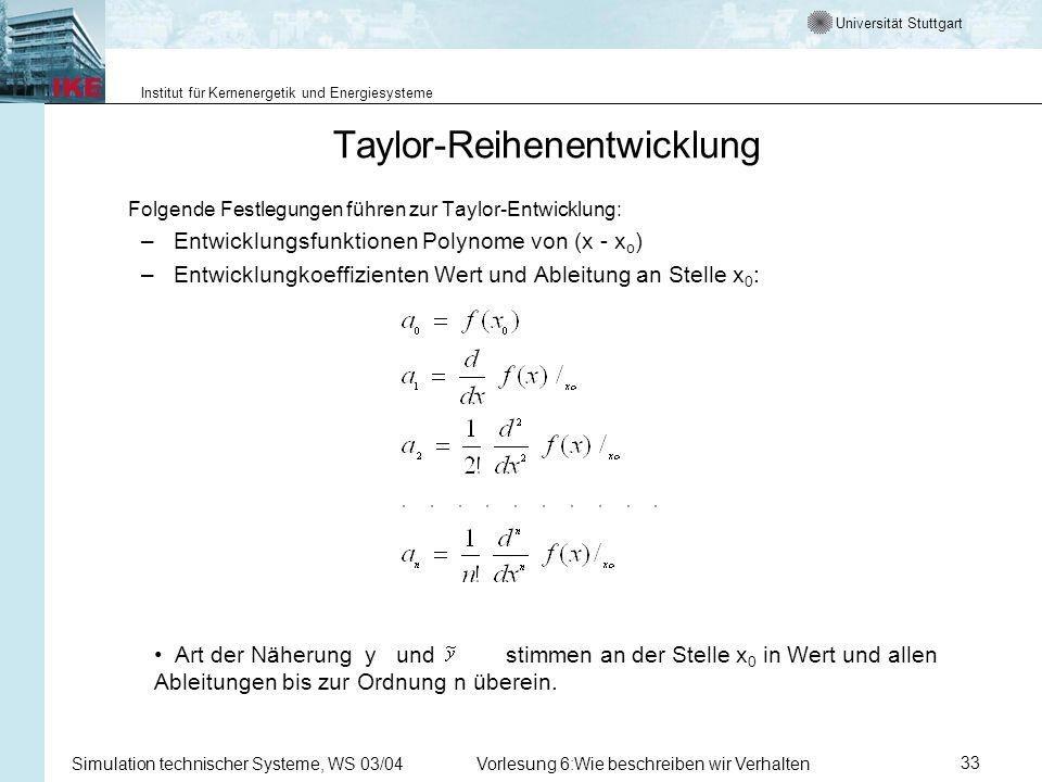 Universität Stuttgart Institut für Kernenergetik und Energiesysteme Simulation technischer Systeme, WS 03/04Vorlesung 6:Wie beschreiben wir Verhalten33 Taylor-Reihenentwicklung Folgende Festlegungen führen zur Taylor-Entwicklung: –Entwicklungsfunktionen Polynome von (x - x o ) –Entwicklungkoeffizienten Wert und Ableitung an Stelle x 0 : Art der Näherung y und stimmen an der Stelle x 0 in Wert und allen Ableitungen bis zur Ordnung n überein.