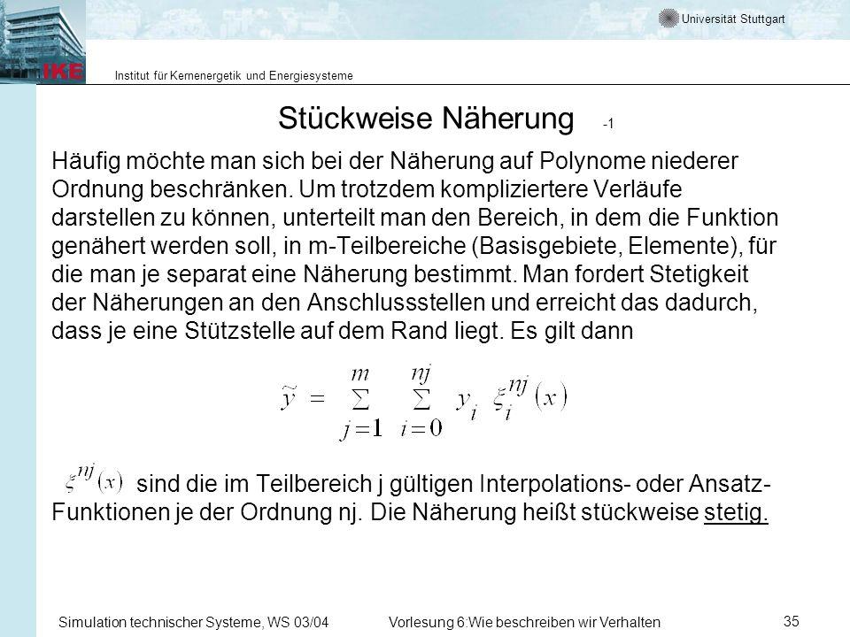 Universität Stuttgart Institut für Kernenergetik und Energiesysteme Simulation technischer Systeme, WS 03/04Vorlesung 6:Wie beschreiben wir Verhalten35 Stückweise Näherung -1 Häufig möchte man sich bei der Näherung auf Polynome niederer Ordnung beschränken.