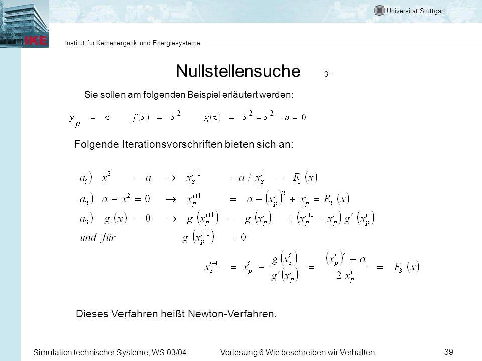 Universität Stuttgart Institut für Kernenergetik und Energiesysteme Simulation technischer Systeme, WS 03/04Vorlesung 6:Wie beschreiben wir Verhalten39 Nullstellensuche -3- Sie sollen am folgenden Beispiel erläutert werden: Folgende Iterationsvorschriften bieten sich an: Dieses Verfahren heißt Newton-Verfahren.