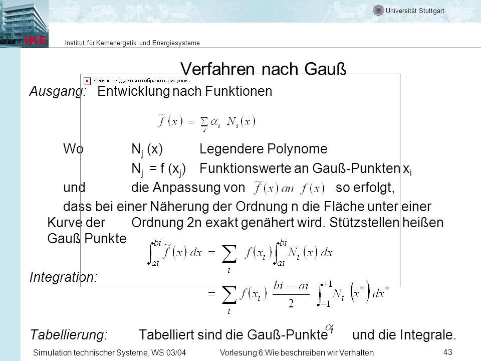 Universität Stuttgart Institut für Kernenergetik und Energiesysteme Simulation technischer Systeme, WS 03/04Vorlesung 6:Wie beschreiben wir Verhalten43 Verfahren nach Gauß Ausgang: Entwicklung nach Funktionen Wo N j (x) Legendere Polynome N j = f (x j ) Funktionswerte an Gauß-Punkten x i und die Anpassung von so erfolgt, dass bei einer Näherung der Ordnung n die Fläche unter einer Kurve der Ordnung 2n exakt genähert wird.