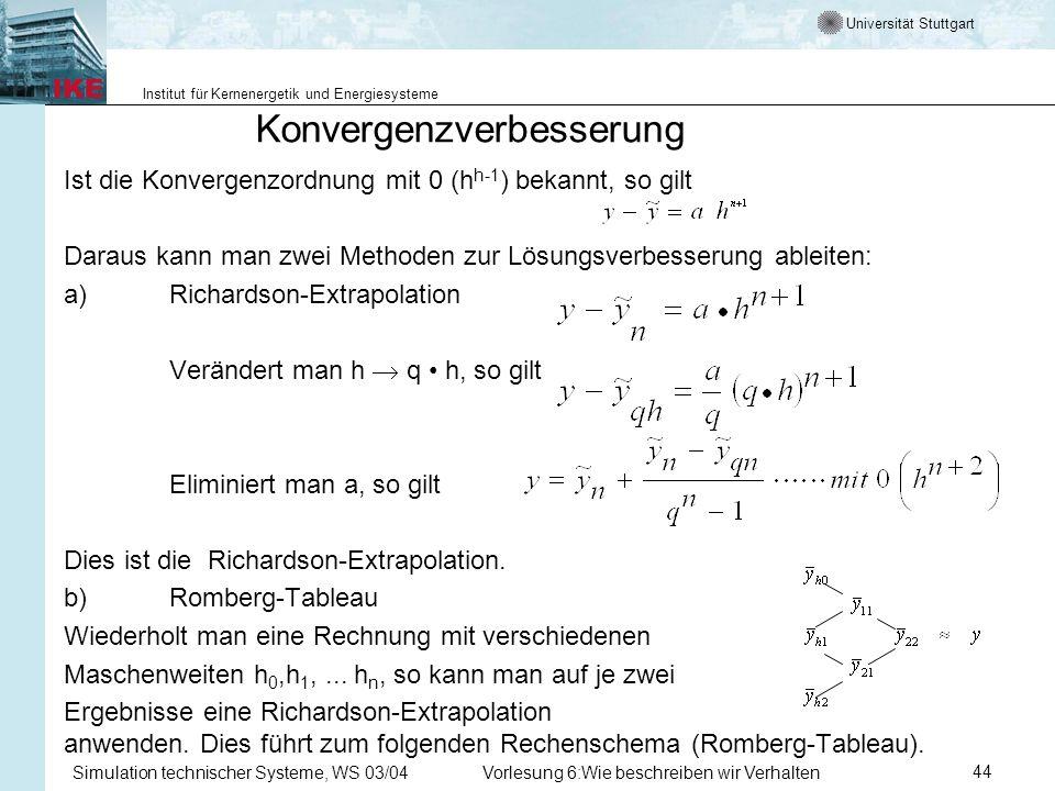Universität Stuttgart Institut für Kernenergetik und Energiesysteme Simulation technischer Systeme, WS 03/04Vorlesung 6:Wie beschreiben wir Verhalten44 Konvergenzverbesserung Ist die Konvergenzordnung mit 0 (h h-1 ) bekannt, so gilt Daraus kann man zwei Methoden zur Lösungsverbesserung ableiten: a)Richardson-Extrapolation Verändert man h q h, so gilt Eliminiert man a, so gilt Dies ist die Richardson-Extrapolation.