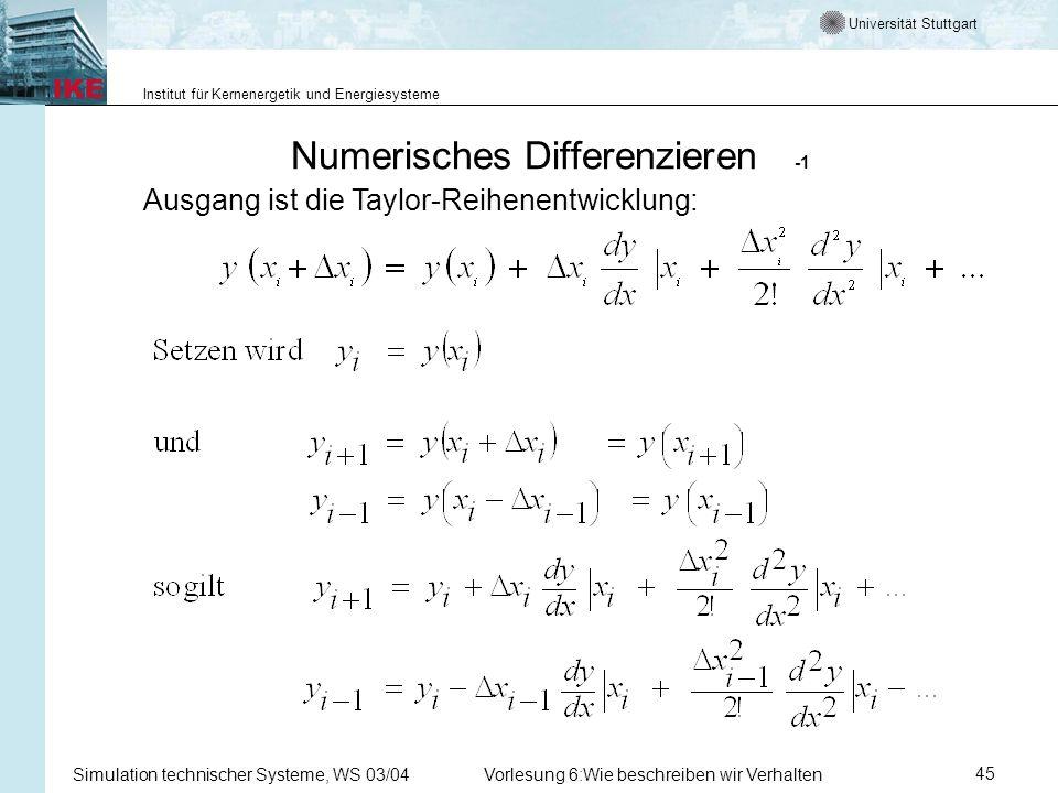 Universität Stuttgart Institut für Kernenergetik und Energiesysteme Simulation technischer Systeme, WS 03/04Vorlesung 6:Wie beschreiben wir Verhalten45 Numerisches Differenzieren -1 Ausgang ist die Taylor-Reihenentwicklung: