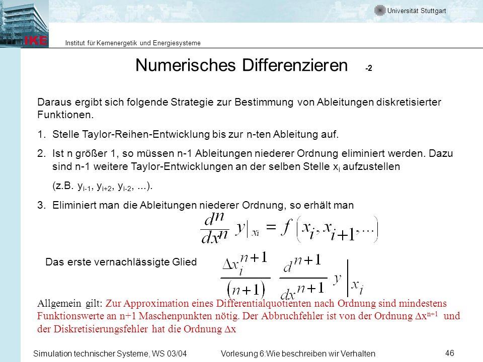 Universität Stuttgart Institut für Kernenergetik und Energiesysteme Simulation technischer Systeme, WS 03/04Vorlesung 6:Wie beschreiben wir Verhalten46 Numerisches Differenzieren -2 Daraus ergibt sich folgende Strategie zur Bestimmung von Ableitungen diskretisierter Funktionen.