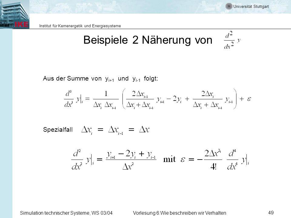 Universität Stuttgart Institut für Kernenergetik und Energiesysteme Simulation technischer Systeme, WS 03/04Vorlesung 6:Wie beschreiben wir Verhalten49 Beispiele 2 Näherung von Aus der Summe von y i+1 und y i-1 folgt: Spezialfall