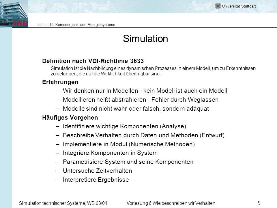 Universität Stuttgart Institut für Kernenergetik und Energiesysteme Simulation technischer Systeme, WS 03/04Vorlesung 6:Wie beschreiben wir Verhalten9 Simulation Definition nach VDI-Richtlinie 3633 Simulation ist die Nachbildung eines dynamischen Prozesses in einem Modell, um zu Erkenntnissen zu gelangen, die auf die Wirklichkeit übertragbar sind.