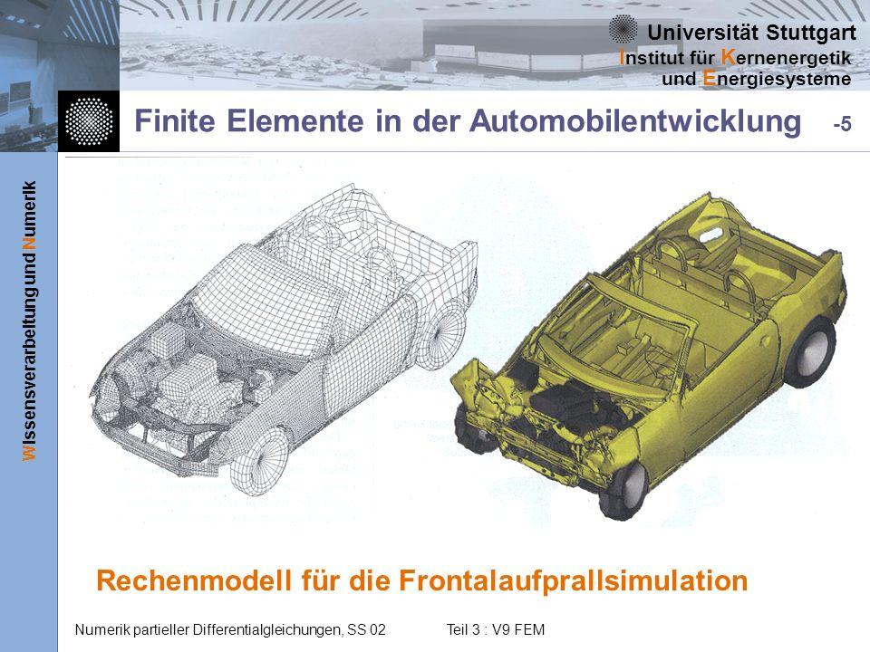 Universität Stuttgart Wissensverarbeitung und Numerik I nstitut für K ernenergetik und E nergiesysteme Numerik partieller Differentialgleichungen, SS
