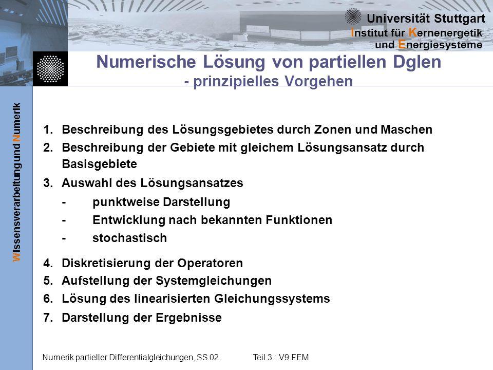 Universität Stuttgart Wissensverarbeitung und Numerik I nstitut für K ernenergetik und E nergiesysteme Numerik partieller Differentialgleichungen, SS 02 Teil 3 : V9 FEM Numerische Lösung von partiellen Dglen - Das Finite Elemente-Verfahren 1.Zonen, Maschen und Basisgebiete sind Gebiete beliebiger Form (FiniteElemente), über die Differentialgleichung integriert werden kann 2.Maschen und Basisgebiete identisch - Lösungspunkte auf FE-Rand 3.