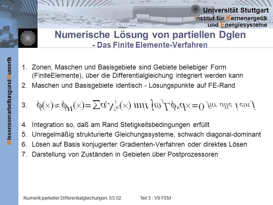 Universität Stuttgart Wissensverarbeitung und Numerik I nstitut für K ernenergetik und E nergiesysteme Numerik partieller Differentialgleichungen, SS 02 Teil 3 : V9 FEM Lagrange-Interpolation mit Galerkin-Wichtung Folgende Festlegungen werden in der Regel verwendet: Entwicklungsfunktionen Lagrange-Polynome Entwicklungskoeffizienten Werte der genäherten Funktion an Stützstellen (Knoten) Wichtungsfunktionen sind mit Entwicklugnsfunktionen identisch (Galerkin-Wichtung).
