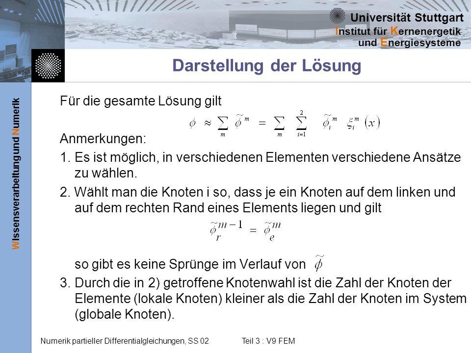 Universität Stuttgart Wissensverarbeitung und Numerik I nstitut für K ernenergetik und E nergiesysteme Numerik partieller Differentialgleichungen, SS 02 Teil 3 : V9 FEM Bildung der Elementintegrale Verwendet man im Element einen linearen Ansatz, so gilt: Unter Verwendung von Lagrange-Polynomen für ein Dreieck wird daraus wo die Lösungswerte an den Dreiecksecken (Knoten) sind.