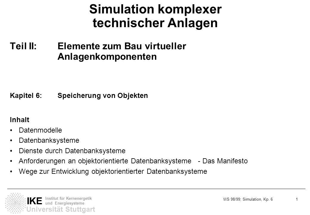 WS 98/99; Simulation, Kp. 6 1 Universität Stuttgart IKE Institut für Kernenergetik und Energiesysteme Simulation komplexer technischer Anlagen Teil II