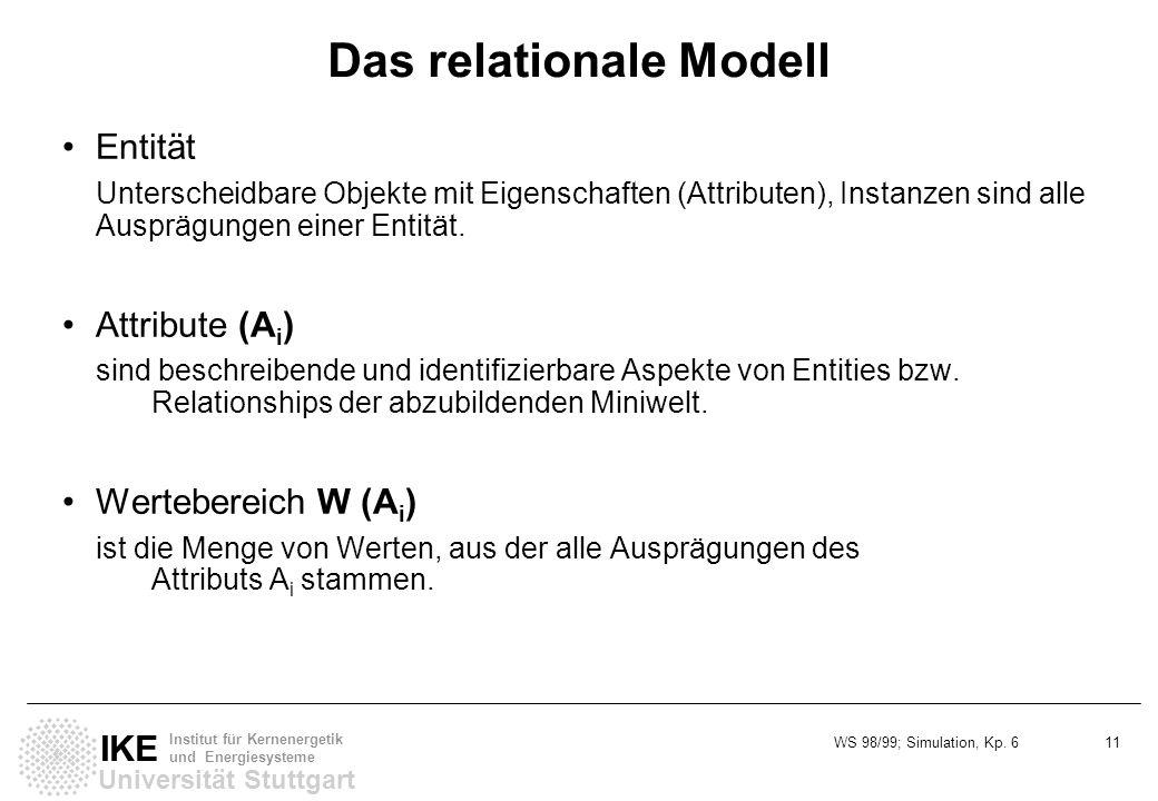WS 98/99; Simulation, Kp. 6 11 Universität Stuttgart IKE Institut für Kernenergetik und Energiesysteme Das relationale Modell Entität Unterscheidbare