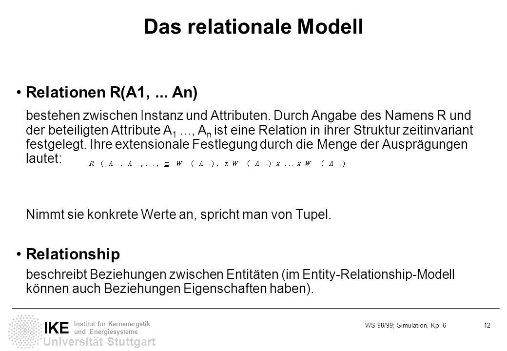 WS 98/99; Simulation, Kp. 6 12 Universität Stuttgart IKE Institut für Kernenergetik und Energiesysteme Das relationale Modell Relationen R(A1,... An)