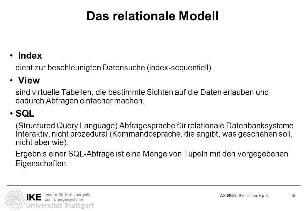 WS 98/99; Simulation, Kp. 6 15 Universität Stuttgart IKE Institut für Kernenergetik und Energiesysteme Das relationale Modell Index dient zur beschleu