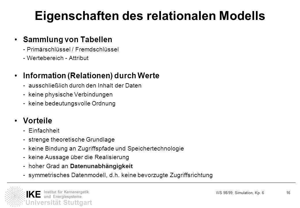WS 98/99; Simulation, Kp. 6 16 Universität Stuttgart IKE Institut für Kernenergetik und Energiesysteme Eigenschaften des relationalen Modells Sammlung