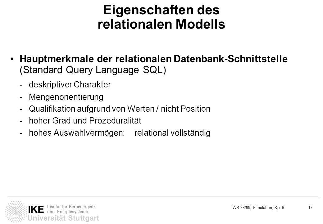 WS 98/99; Simulation, Kp. 6 17 Universität Stuttgart IKE Institut für Kernenergetik und Energiesysteme Eigenschaften des relationalen Modells Hauptmer