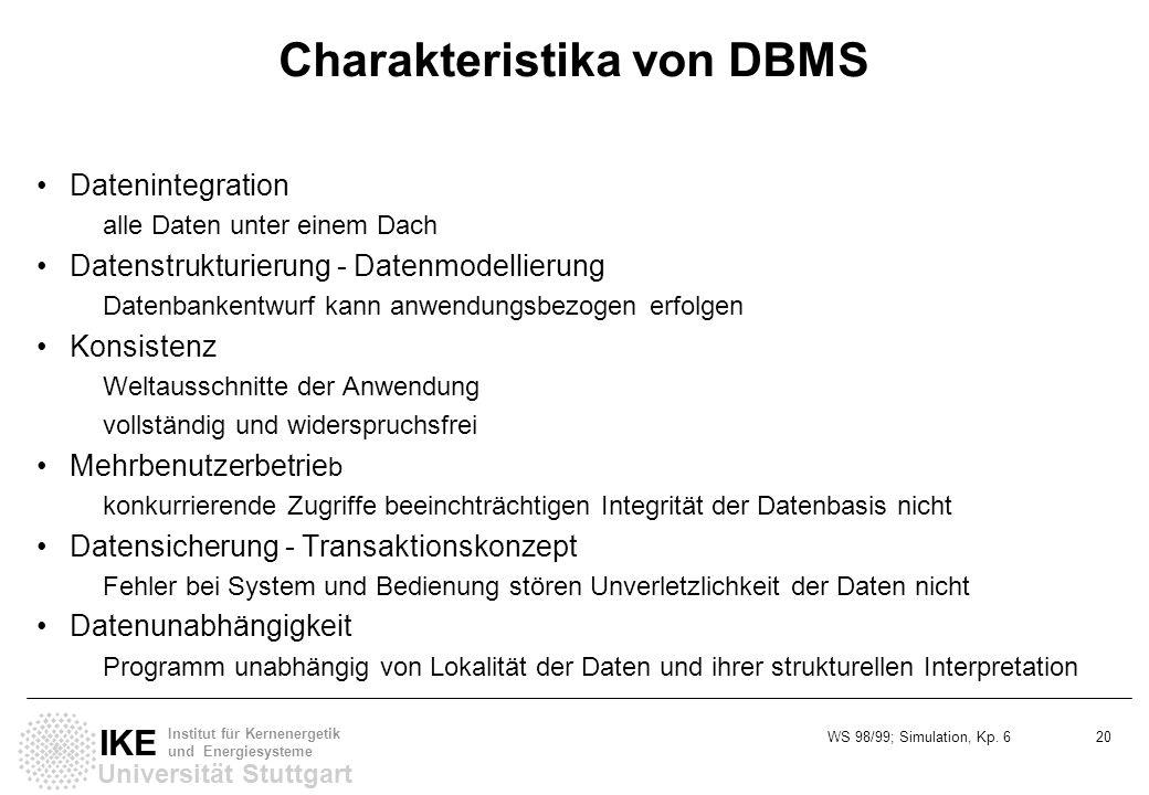 WS 98/99; Simulation, Kp. 6 20 Universität Stuttgart IKE Institut für Kernenergetik und Energiesysteme Charakteristika von DBMS Datenintegration alle